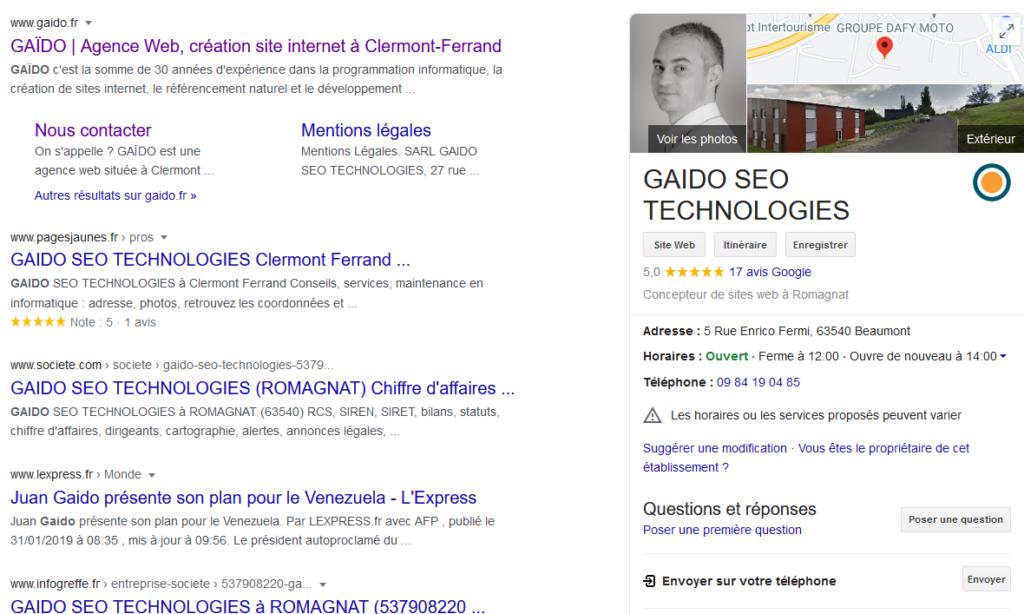 GAIDO : Référencement SEO Google